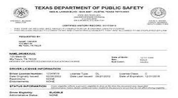 texas driving record