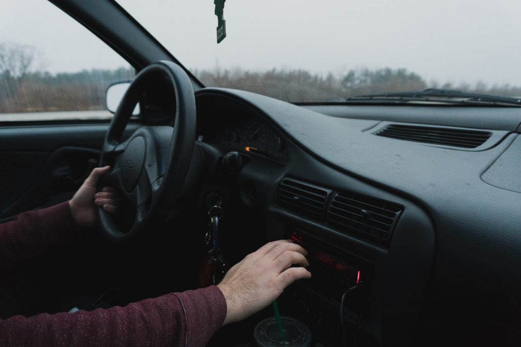 using radio when driving