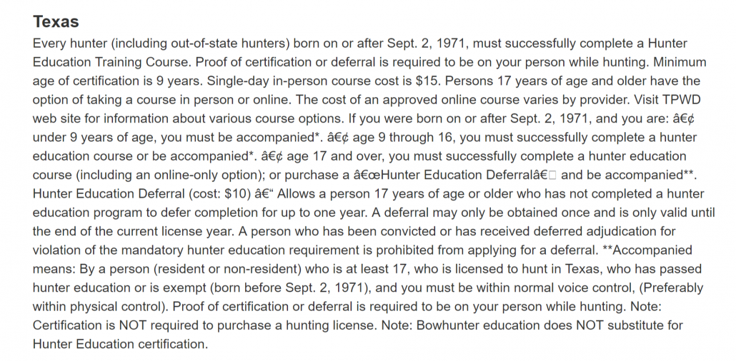 Texas Hunter Education Requirements